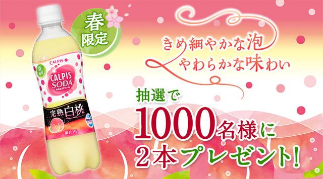 カルピスソーダ完熟白桃プレゼント